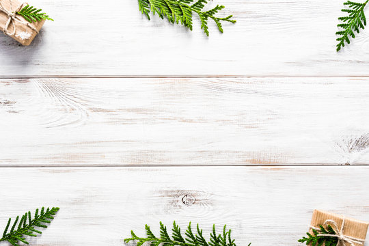 Christmas white wooden background with christmas composition, flat lay, top view