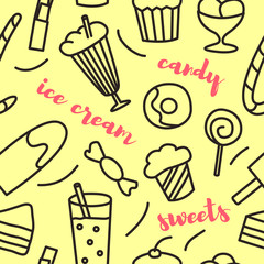 Seamless pattern with hand drawn sweets elements in doodle style with lettering. Vector illustration on yellow background.