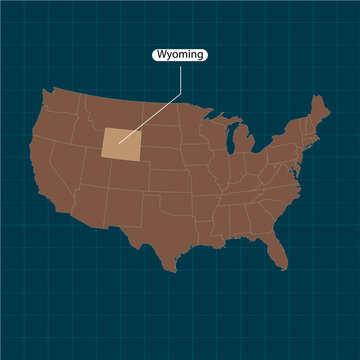 Wyoming. States of America territory on dark background. Separate state. Vector illustration