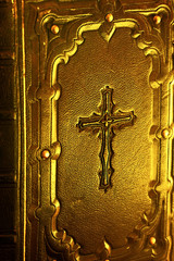 Wall Mural - Christian Catholic bible with cross and beautiful lightning like a concept Cristianian religion