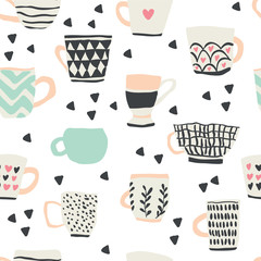 seamless pattern with scandinavian style cups