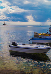 Beautiful landscape with boats in the sea