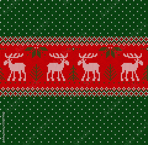 merry christmas new year seamless pattern border frame scandinavian deers