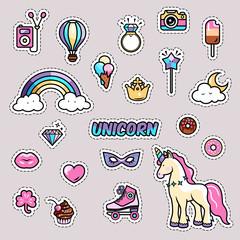 Unicorn magic rainbow vector illustration - cute cartoon card, trendy sticker and fashion shirt design