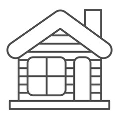 Winter house thin line icon. Christmas house vector illustration isolated on white. Gingerbread house outline style design, designed for web and app. Eps 10.