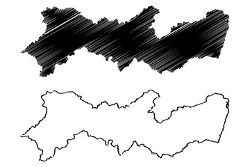 Pernambuco (Region of Brazil, Federated state, Federative Republic of Brazil) map vector illustration, scribble sketch Pernambuco map