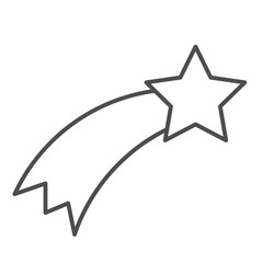 Shooting star thin line icon. Falling star vector illustration isolated on white. Astronomy outline style design, designed for web and app. Eps 10.