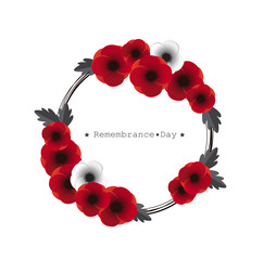 Remembrance day vector. Wreath of poppies on white background.