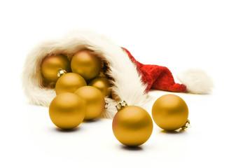 Goldene Weihnachtskugeln