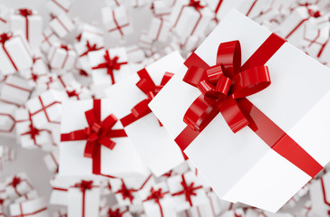 Christmas and New Year's Day red gift boxes