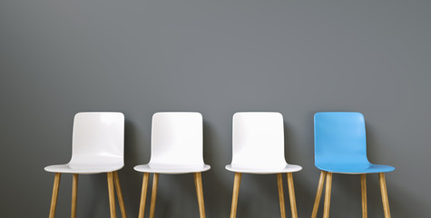 Row of chairs with one blue. Job opportunity. Business leadership. recruitment concept Wall mural