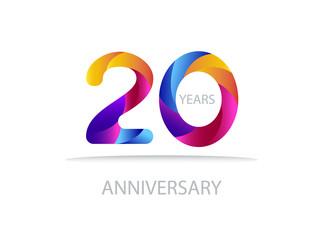20 years anniversary vector. Colorful modern elegant illustration.