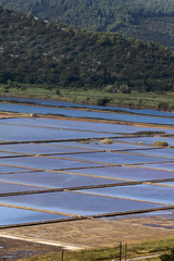 The saltworks of Ston, Croatia, established in the 13th century and still harvesting the salt from the sea in a traditional manner.