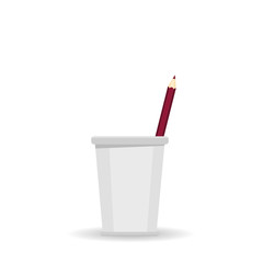 One red pencil in glass for office. Vector on white background