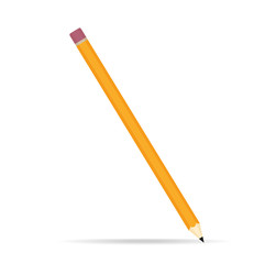 Pencil icon in flat design. Vector on white background with shadow.