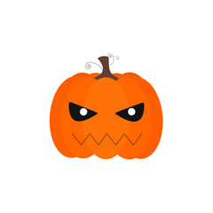 Vector of a simple pumpkin with bad face and black eyes.