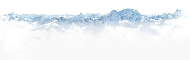 Poster de jardin Blanc Panorama of winter mountains in Caucasus region,Elbrus mountain,