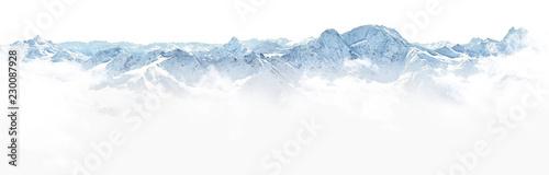 Wall mural Panorama of winter mountains in Caucasus region,Elbrus mountain,