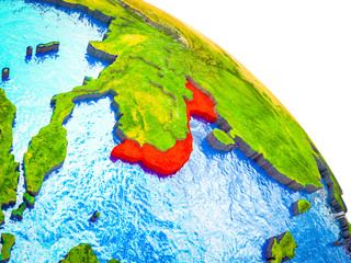 Vietnam Highlighted on 3D Earth model with water and visible country borders.