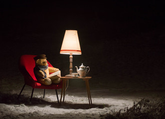 Teddy bear read a book outside in a winter night - surreal scene