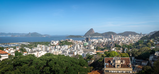 Panoramic aerial view of downtown Rio de Janeiro with Sugar Loaf mountain on background - Rio de Janeiro, Brazil