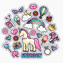 Unicorn magic rainbow vector illustration - cute cartoon card, trendy sticker and fashion shirt design