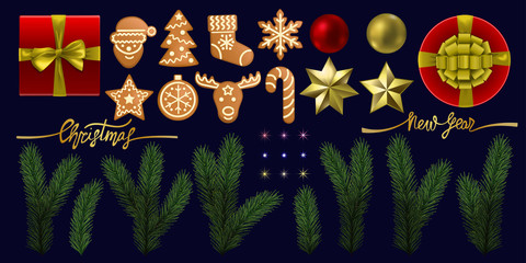 Christmas and New Year Vector Object Set