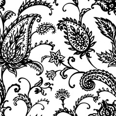 Paisley seamless pattern on white background, oriental pattern, black and white vector illustration