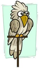 Cartoon funny white parrot vector icon