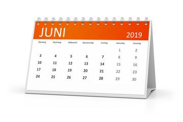 table calendar 2019 june german language