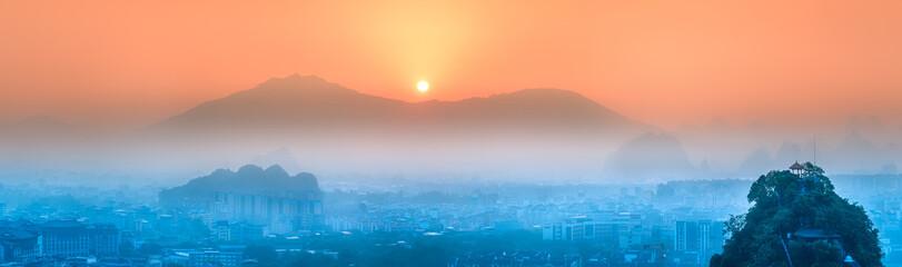 Photo sur Plexiglas Corail Li River and Karst mountains Guilin, Yangshuo