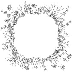 Curly Flower frame. Frame with flowers, plants, grass, fern. Stylized black and white drawing. Isolated on white background