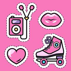 pink roller skates, music ipod, kissing lips, love heart flat sticker set, isolated flat vector illustration eps10