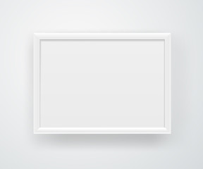 Empty square white frame on a wall. Vector layout