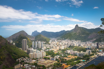 Aerial view of Rio de Janeiro skyline with Corcovado Mountain - Rio de Janeiro, Brazil