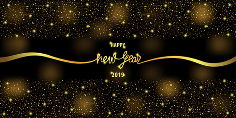 Happy New Year 2019 Web Banner with Gold Glitter