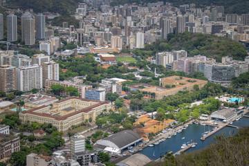 Aerial view of Urca neighborhood with Rio de Janeiro University (UFRJ) and Benjamin Constant Institute - Rio de Janeiro, Brazil