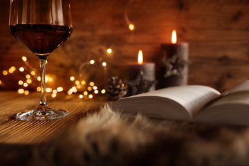 Winter evening with wine and book