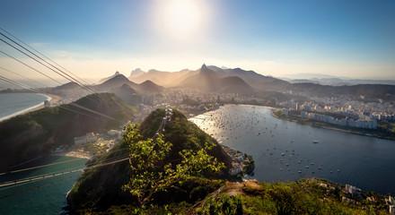 Aerial view of Rio de Janeiro with Urca and Corcovado mountain and Guanabara Bay - Rio de Janeiro, Brazil