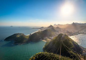 Aerial view of Rio de Janeiro Coast with Copacabana, Praia Vermelha beach, Urca and Corcovado mountain - Rio de Janeiro, Brazil