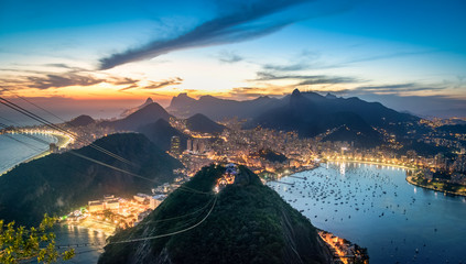 Aerial view of Rio de Janeiro at sunset with Urca and Corcovado mountain and Guanabara Bay - Rio de Janeiro, Brazil Wall mural
