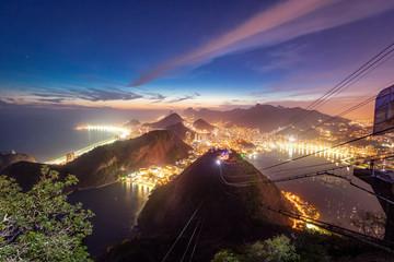 Aerial view of Rio de Janeiro Coast with Copacabana, Praia Vermelha beach, Urca and Corcovado mountain at night - Rio de Janeiro, Brazil
