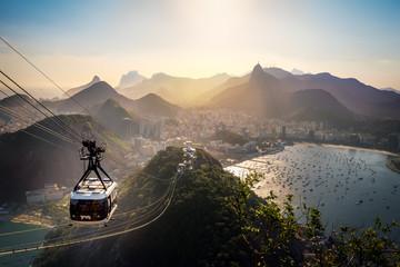 Aerial view of Rio de Janeiro with Urca and Sugar Loaf Cable Car and Corcovado mountain  - Rio de Janeiro, Brazil Wall mural