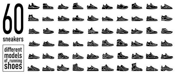 60 sneaker running shoes icons set. Simple style