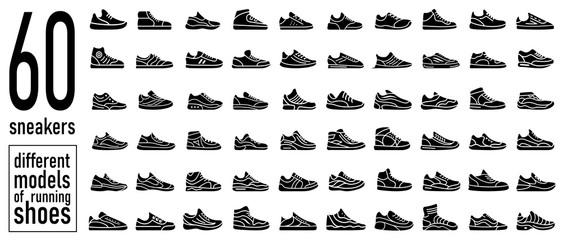 Lamas personalizadas con tu foto 60 sneaker running shoes icons set. Simple style