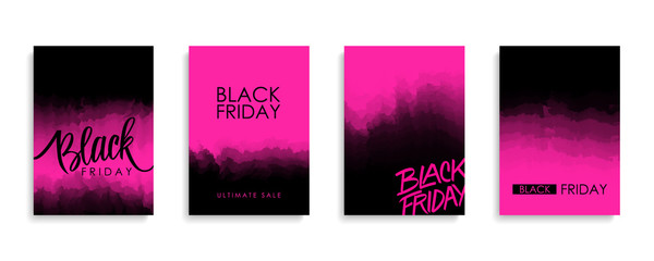 Black Friday Sale promotional flyers or covers set for black friday shopping, business, commerce, promotion and advertising. Vector illustration.