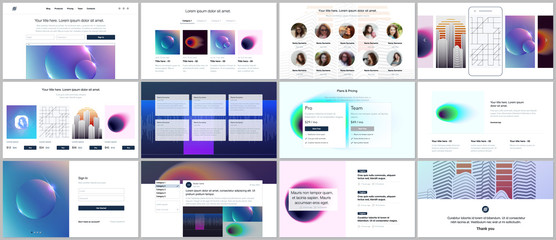 Vector templates for website design, minimal presentations, portfolio with colorful abstract gradient blurs and geometric backgrounds. UI, UX, GUI. Design of header, dashboard, features page, blog etc