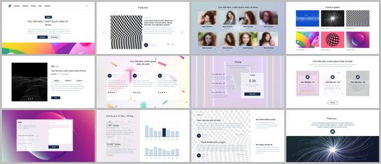 Vector templates for website design, minimal presentations, portfolio with vibrant colorful abstract gradient backgrounds. UI, UX, GUI. Design of headers, dashboard, testimonials, e-commerce page etc.