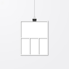 Realistic isolated white paper photo frame hanging by binder clips. Template collage vector illustration. Timeline for photographers