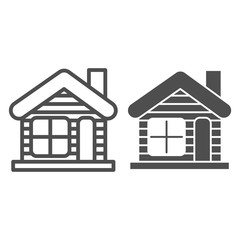 Winter house line and glyph icon. Christmas house vector illustration isolated on white. Gingerbread house outline style design, designed for web and app. Eps 10.